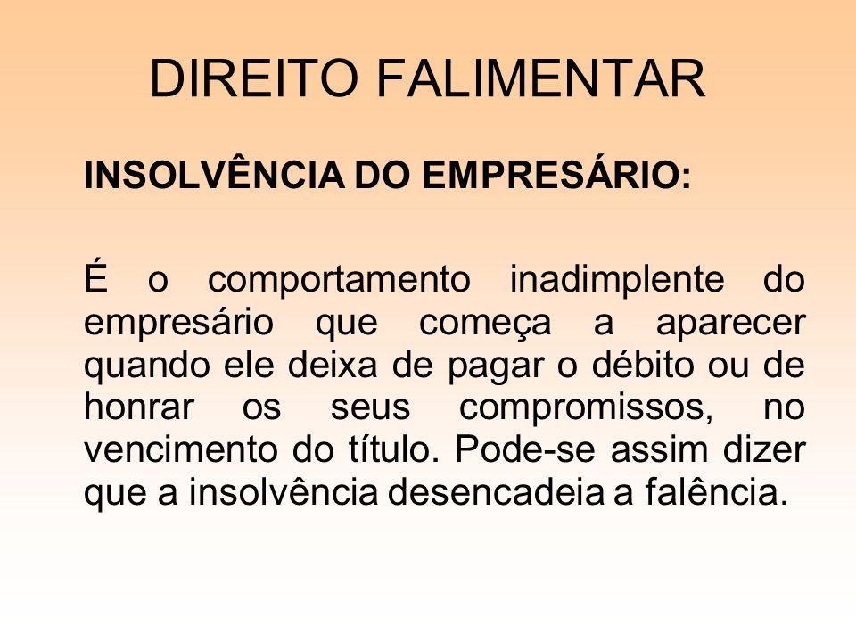 DIREITO FALIMENTAR SOCIEDADE EMPRESARIA: (Antiga Sociedade Comercial) tem o Registro de seus Atos Junta Comercial.