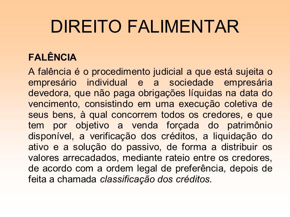DIREITO FALIMENTAR FALÊNCIA A falência é o procedimento judicial a que está sujeita o empresário individual e a sociedade empresária devedora, que não