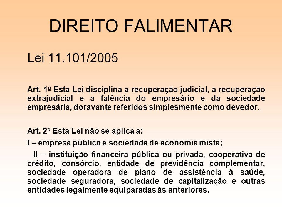 DIREITO FALIMENTAR Lei 11.101/2005 Art. 1 o Esta Lei disciplina a recuperação judicial, a recuperação extrajudicial e a falência do empresário e da so