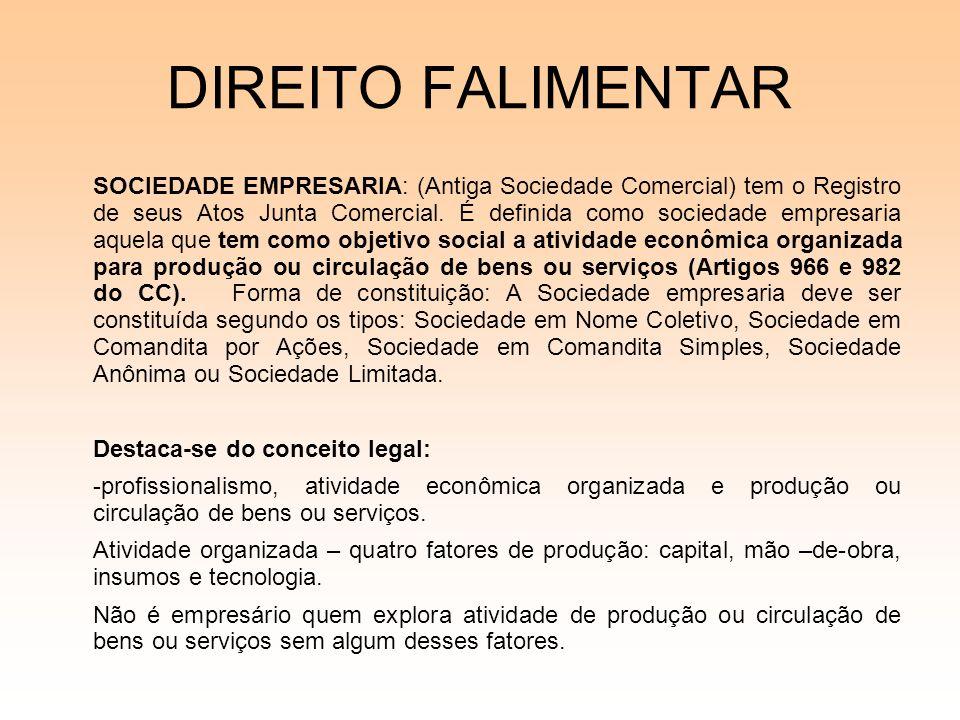 DIREITO FALIMENTAR SOCIEDADE EMPRESARIA: (Antiga Sociedade Comercial) tem o Registro de seus Atos Junta Comercial. É definida como sociedade empresari