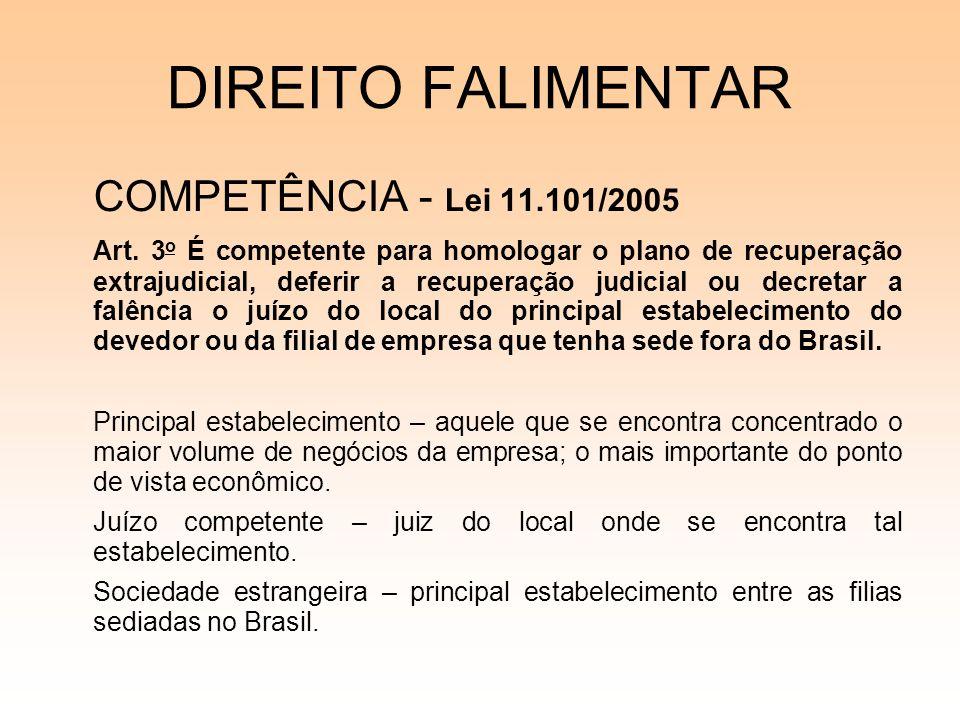 DIREITO FALIMENTAR COMPETÊNCIA - Lei 11.101/2005 Art. 3 o É competente para homologar o plano de recuperação extrajudicial, deferir a recuperação judi