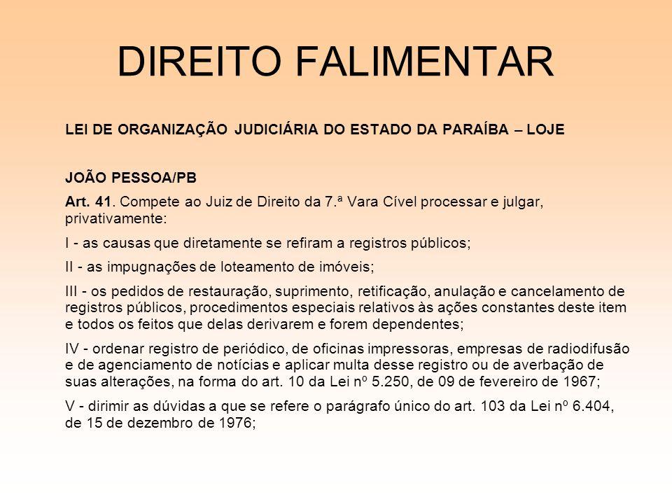 DIREITO FALIMENTAR LEI DE ORGANIZAÇÃO JUDICIÁRIA DO ESTADO DA PARAÍBA – LOJE JOÃO PESSOA/PB Art. 41. Compete ao Juiz de Direito da 7.ª Vara Cível proc
