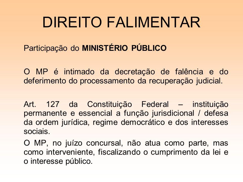 DIREITO FALIMENTAR Participação do MINISTÉRIO PÚBLICO O MP é intimado da decretação de falência e do deferimento do processamento da recuperação judic