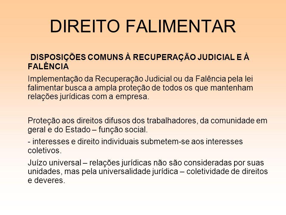 DIREITO FALIMENTAR DISPOSIÇÕES COMUNS À RECUPERAÇÃO JUDICIAL E À FALÊNCIA Implementação da Recuperação Judicial ou da Falência pela lei falimentar bus