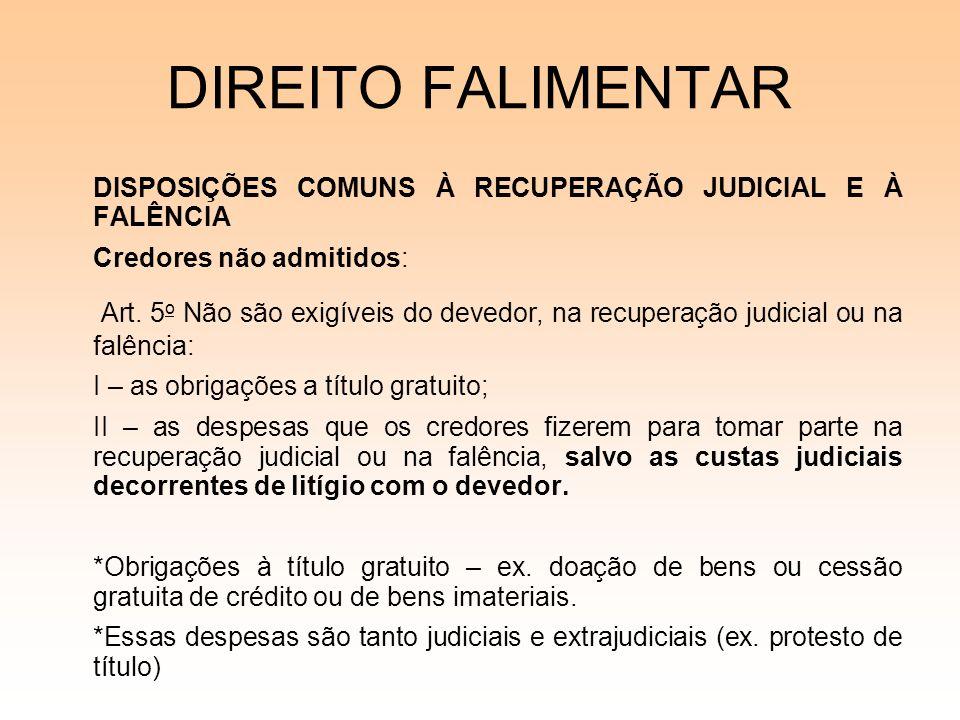 DIREITO FALIMENTAR DISPOSIÇÕES COMUNS À RECUPERAÇÃO JUDICIAL E À FALÊNCIA Credores não admitidos: Art. 5 o Não são exigíveis do devedor, na recuperaçã