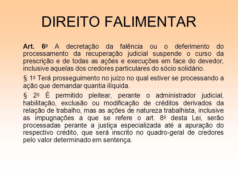 DIREITO FALIMENTAR Art. 6 o A decretação da falência ou o deferimento do processamento da recuperação judicial suspende o curso da prescrição e de tod