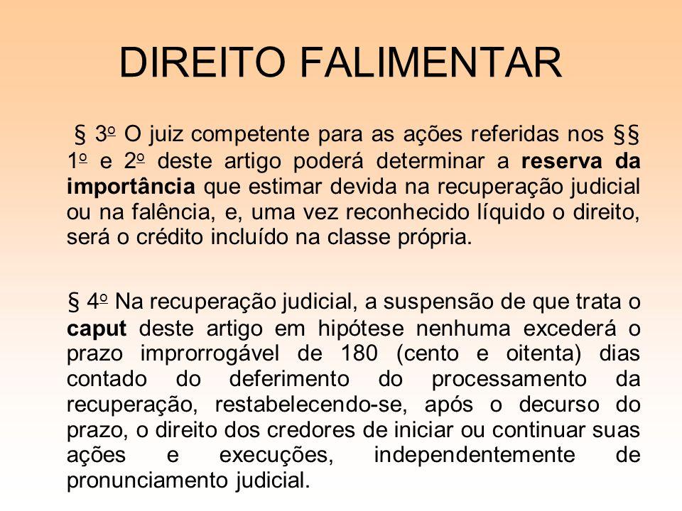 DIREITO FALIMENTAR § 3 o O juiz competente para as ações referidas nos §§ 1 o e 2 o deste artigo poderá determinar a reserva da importância que estima