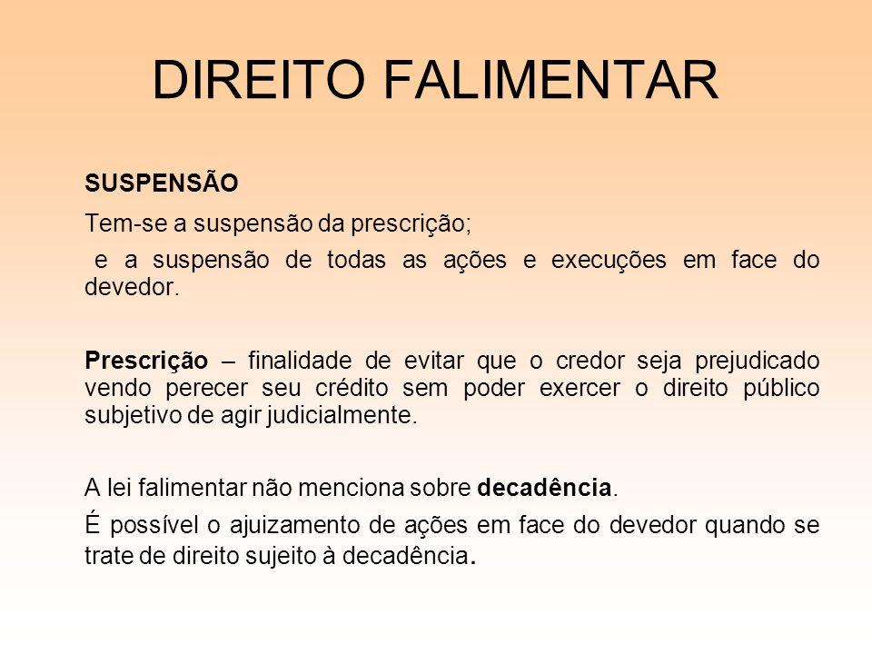 DIREITO FALIMENTAR SUSPENSÃO Tem-se a suspensão da prescrição; e a suspensão de todas as ações e execuções em face do devedor. Prescrição – finalidade
