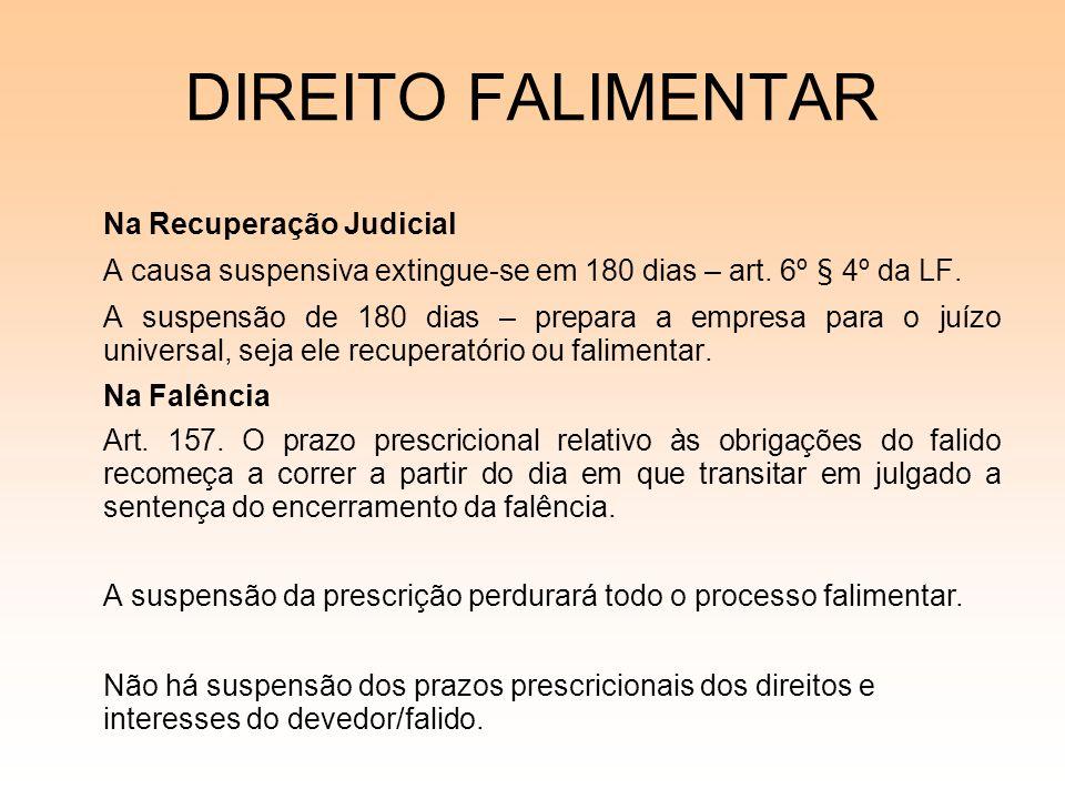 DIREITO FALIMENTAR Na Recuperação Judicial A causa suspensiva extingue-se em 180 dias – art. 6º § 4º da LF. A suspensão de 180 dias – prepara a empres