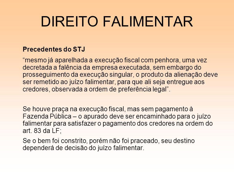 DIREITO FALIMENTAR Precedentes do STJ mesmo já aparelhada a execução fiscal com penhora, uma vez decretada a falência da empresa executada, sem embarg