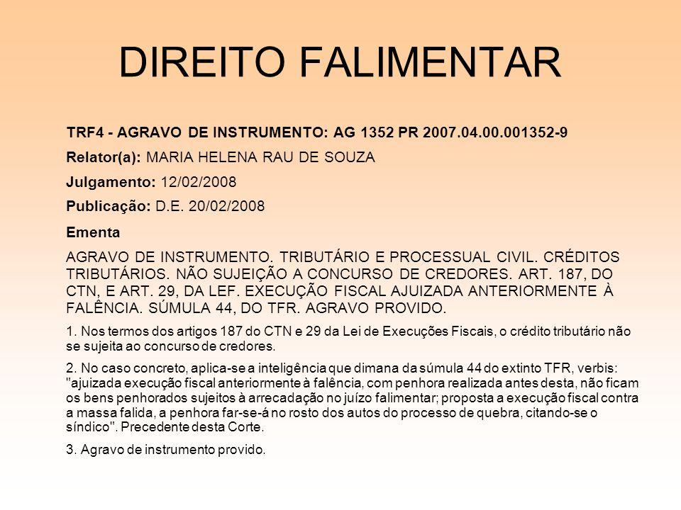 DIREITO FALIMENTAR TRF4 - AGRAVO DE INSTRUMENTO: AG 1352 PR 2007.04.00.001352-9 Relator(a): MARIA HELENA RAU DE SOUZA Julgamento: 12/02/2008 Publicaçã