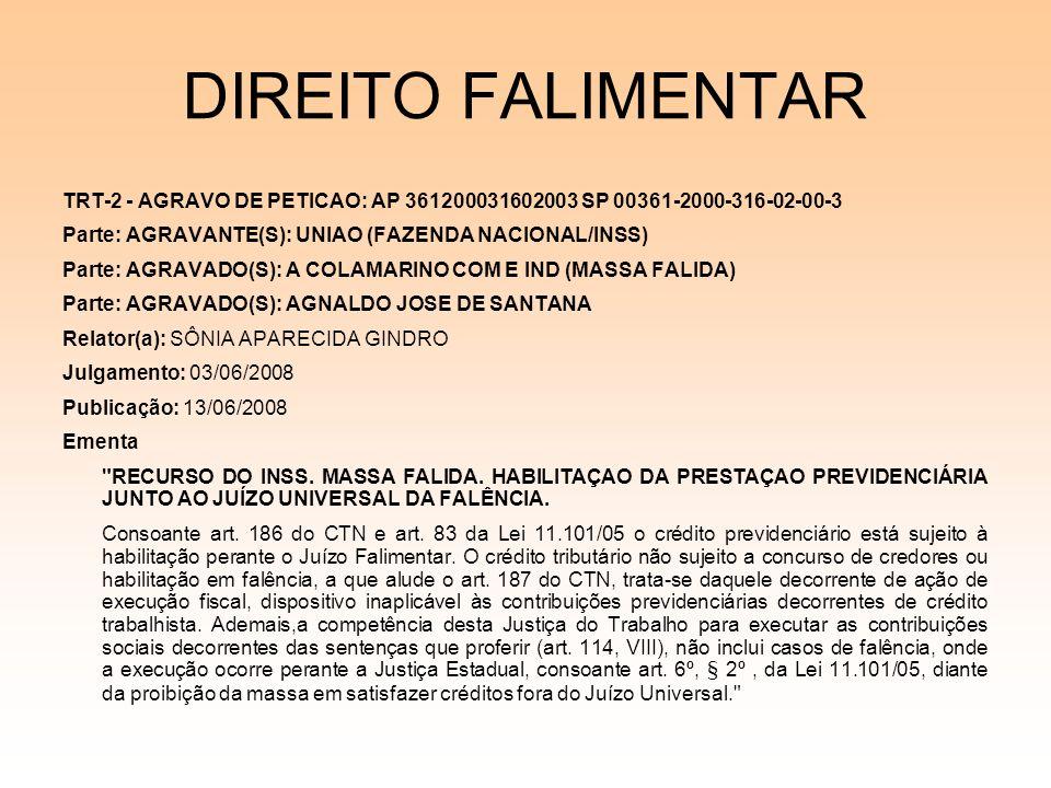 DIREITO FALIMENTAR TRT-2 - AGRAVO DE PETICAO: AP 361200031602003 SP 00361-2000-316-02-00-3 Parte: AGRAVANTE(S): UNIAO (FAZENDA NACIONAL/INSS) Parte: A