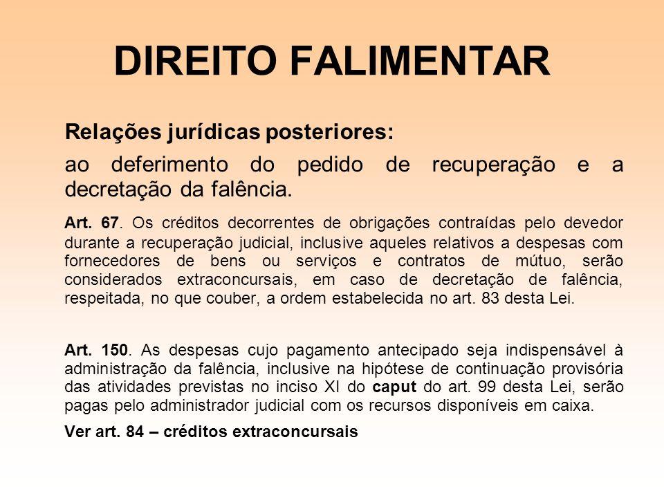 DIREITO FALIMENTAR Relações jurídicas posteriores: ao deferimento do pedido de recuperação e a decretação da falência. Art. 67. Os créditos decorrente