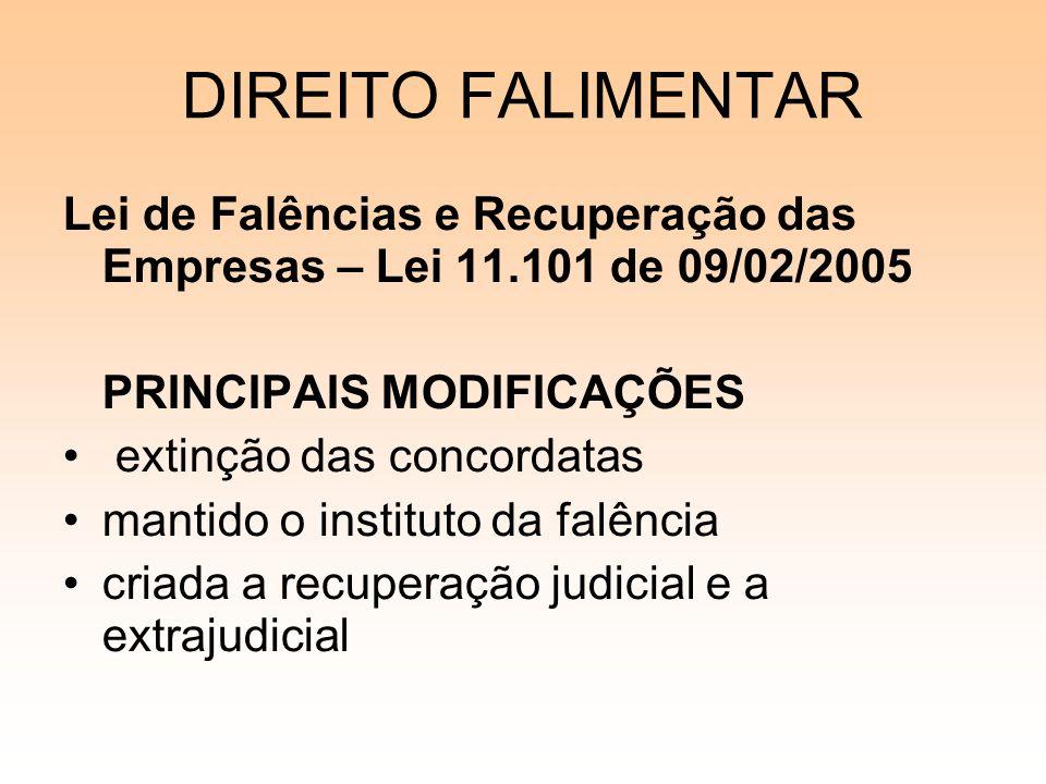 DIREITO FALIMENTAR Lei de Falências e Recuperação das Empresas – Lei 11.101 de 09/02/2005 PRINCIPAIS MODIFICAÇÕES extinção das concordatas mantido o i