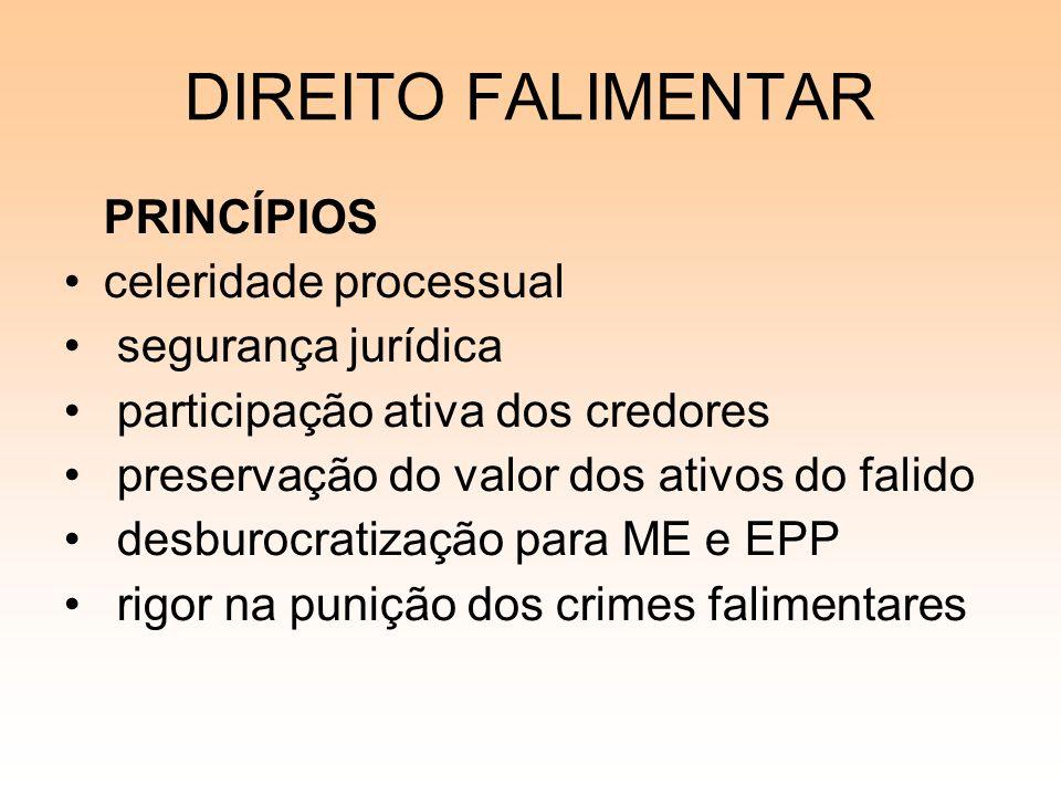 DIREITO FALIMENTAR PRINCÍPIOS celeridade processual segurança jurídica participação ativa dos credores preservação do valor dos ativos do falido desbu