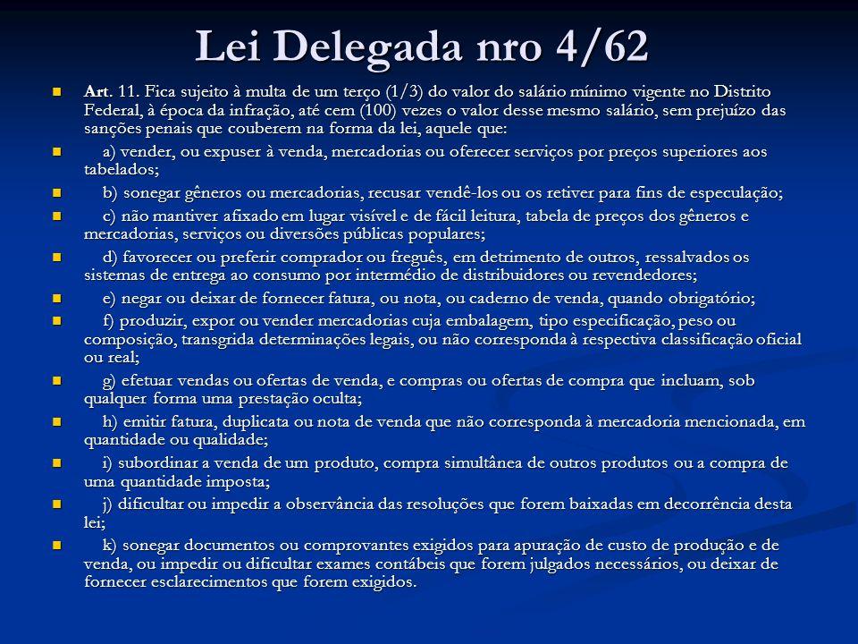 Lei Delegada nro 4/62 Art. 11. Fica sujeito à multa de um terço (1/3) do valor do salário mínimo vigente no Distrito Federal, à época da infração, até