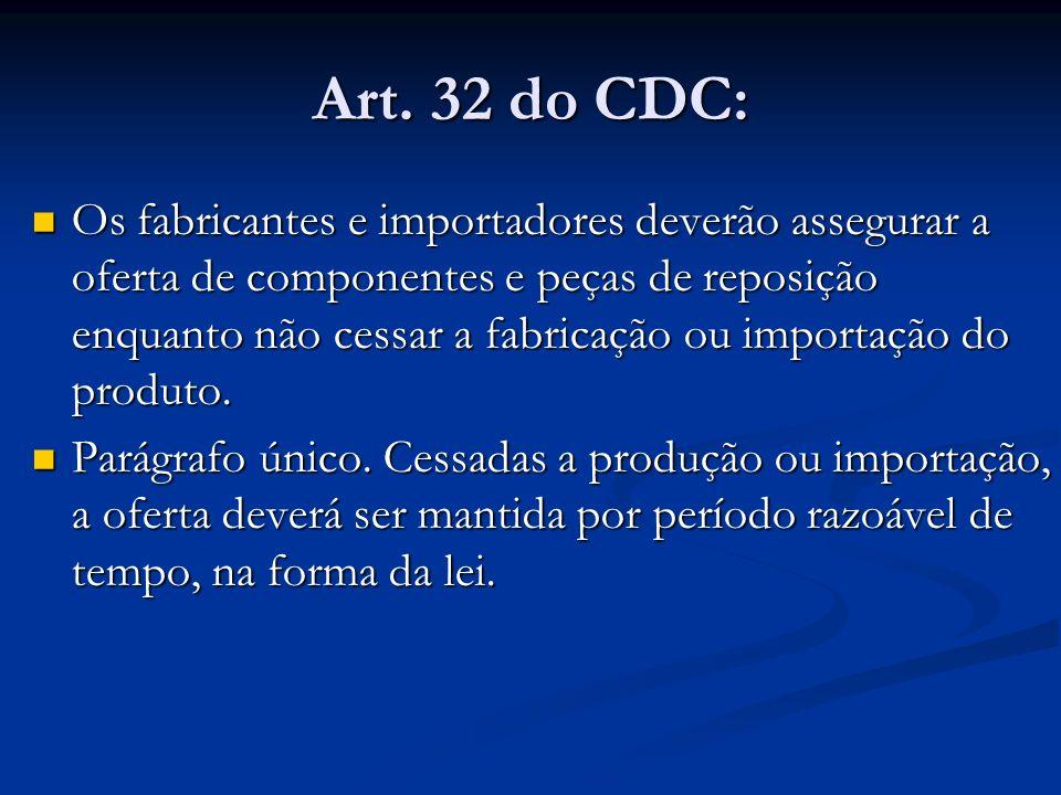 Art. 32 do CDC: Os fabricantes e importadores deverão assegurar a oferta de componentes e peças de reposição enquanto não cessar a fabricação ou impor