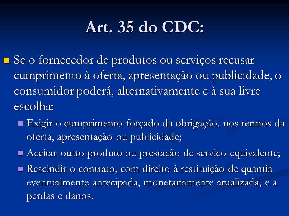 Art. 35 do CDC: Se o fornecedor de produtos ou serviços recusar cumprimento à oferta, apresentação ou publicidade, o consumidor poderá, alternativamen