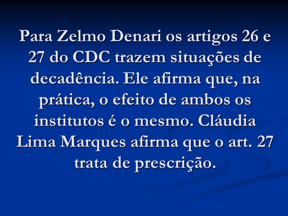 Para Zelmo Denari os artigos 26 e 27 do CDC trazem situações de decadência. Ele afirma que, na prática, o efeito de ambos os institutos é o mesmo. Clá