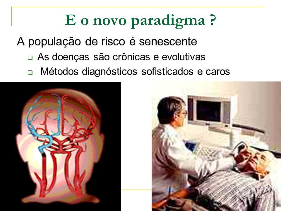 E o novo paradigma ? A população de risco é senescente As doenças são crônicas e evolutivas Métodos diagnósticos sofisticados e caros