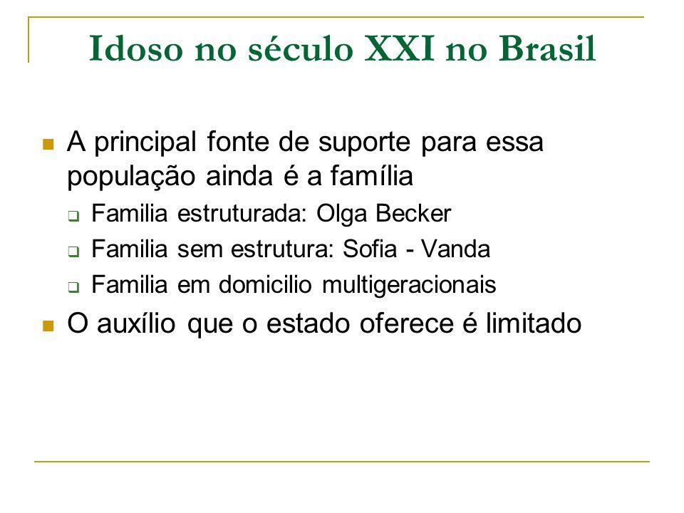 Idoso no século XXI no Brasil A principal fonte de suporte para essa população ainda é a família Familia estruturada: Olga Becker Familia sem estrutur