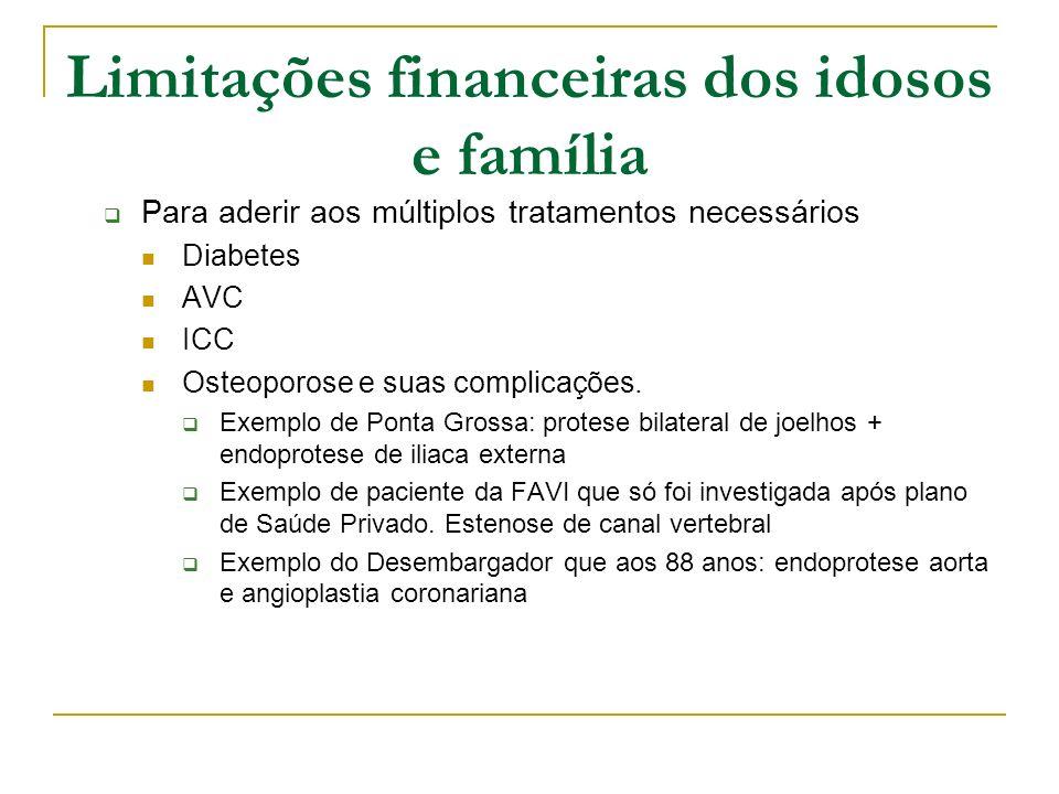 Limitações financeiras dos idosos e família Para aderir aos múltiplos tratamentos necessários Diabetes AVC ICC Osteoporose e suas complicações. Exempl