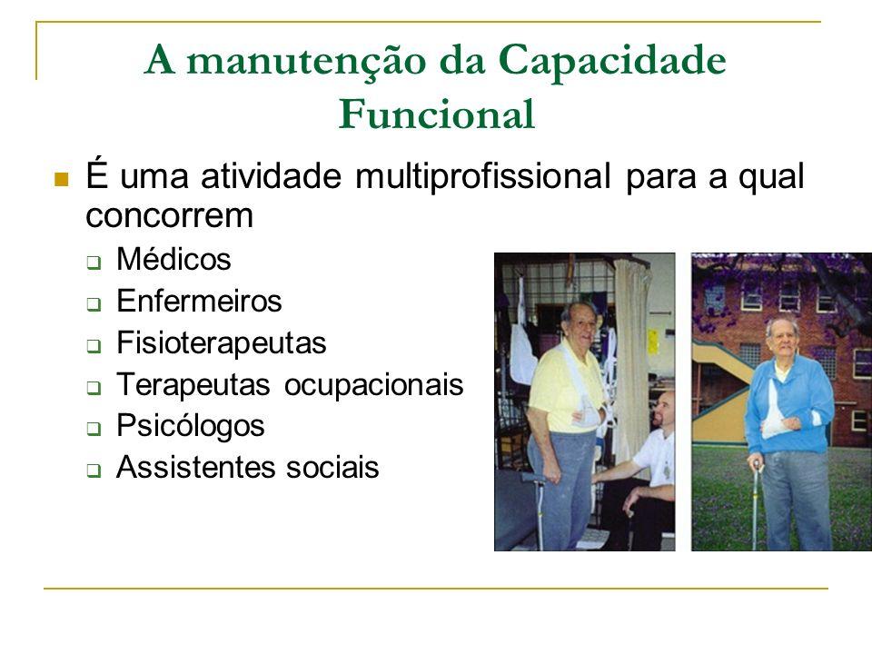A manutenção da Capacidade Funcional É uma atividade multiprofissional para a qual concorrem Médicos Enfermeiros Fisioterapeutas Terapeutas ocupaciona