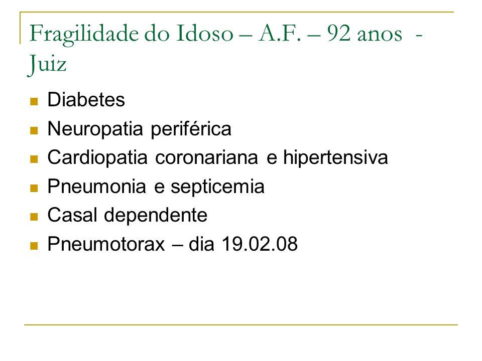 Fragilidade do Idoso – A.F. – 92 anos - Juiz Diabetes Neuropatia periférica Cardiopatia coronariana e hipertensiva Pneumonia e septicemia Casal depend