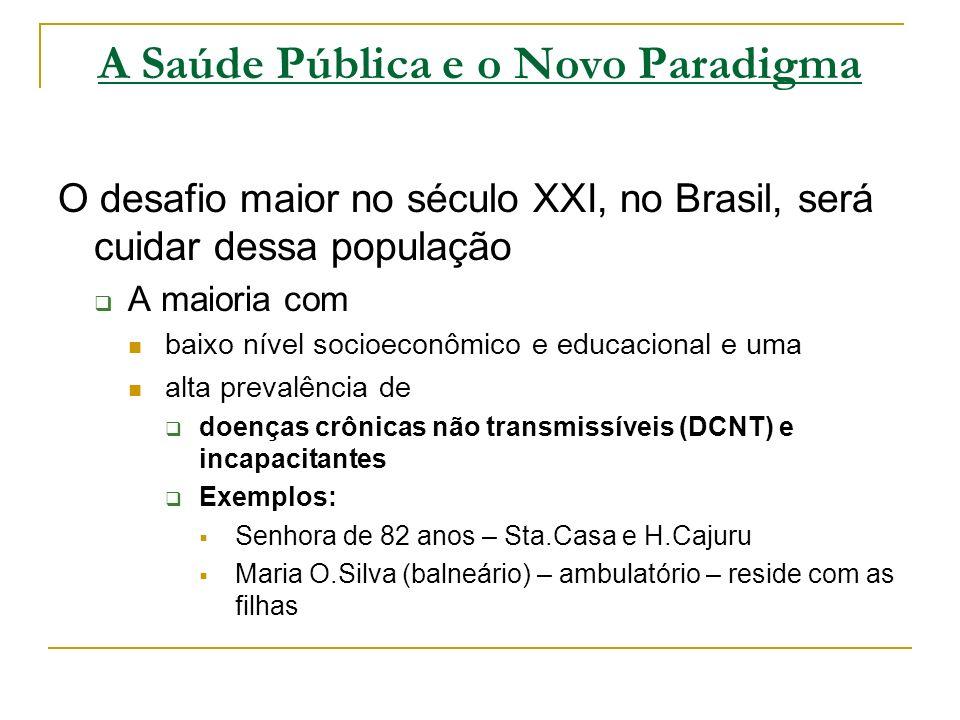 A Saúde Pública e o Novo Paradigma O desafio maior no século XXI, no Brasil, será cuidar dessa população A maioria com baixo nível socioeconômico e ed