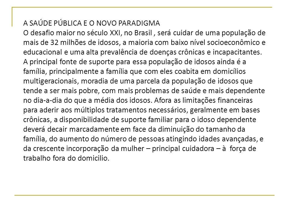 A SAÚDE PÚBLICA E O NOVO PARADIGMA O desafio maior no século XXI, no Brasil, será cuidar de uma população de mais de 32 milhões de idosos, a maioria c