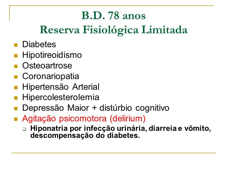 B.D. 78 anos Reserva Fisiológica Limitada Diabetes Hipotireoidismo Osteoartrose Coronariopatia Hipertensão Arterial Hipercolesterolemia Depressão Maio