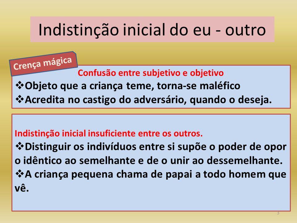 3 Indistinção inicial do eu - outro Indistinção inicial insuficiente entre os outros.