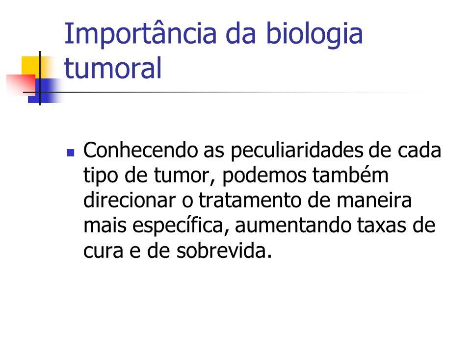 Importância da biologia tumoral Conhecendo as peculiaridades de cada tipo de tumor, podemos também direcionar o tratamento de maneira mais específica,