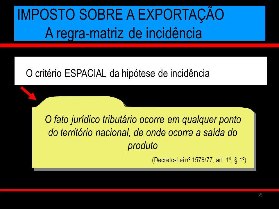55 IMPOSTO SOBRE A EXPORTAÇÃO A regra-matriz de incidência O critério subjetivo do prescritor SUJEITO ATIVO A UNIÃO CF., ART.
