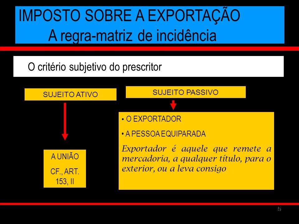 55 IMPOSTO SOBRE A EXPORTAÇÃO A regra-matriz de incidência O critério subjetivo do prescritor SUJEITO ATIVO A UNIÃO CF., ART. 153, II SUJEITO PASSIVO