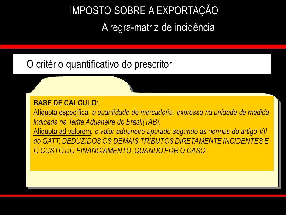 7 IMPOSTO SOBRE A EXPORTAÇÃO A regra-matriz de incidência O critério quantificativo do prescritor ALÍQUOTA: ESPECÍFICA : importância em dinheiro, por unidade de medida prevista em lei.