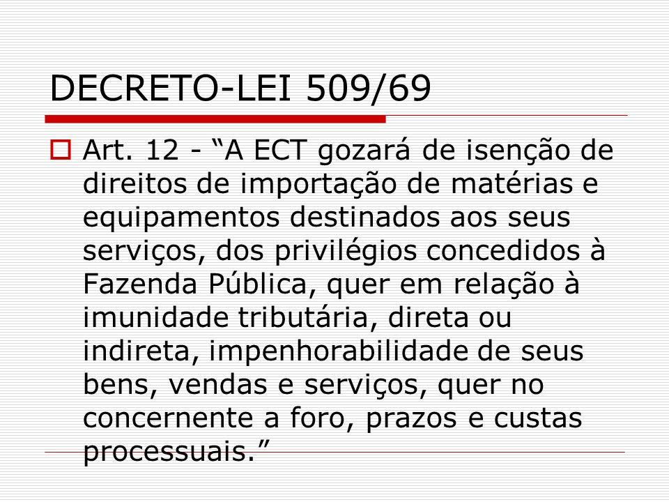 DECRETO-LEI 509/69 Art. 12 - A ECT gozará de isenção de direitos de importação de matérias e equipamentos destinados aos seus serviços, dos privilégio