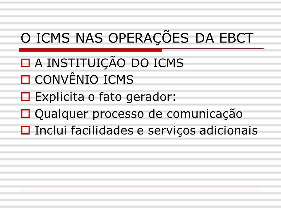 O ICMS NAS OPERAÇÕES DA EBCT A INSTITUIÇÃO DO ICMS CONVÊNIO ICMS Explicita o fato gerador: Qualquer processo de comunicação Inclui facilidades e servi