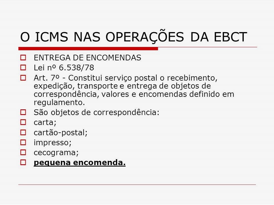 O ICMS NAS OPERAÇÕES DA EBCT ENTREGA DE ENCOMENDAS Lei nº 6.538/78 Art. 7º - Constitui serviço postal o recebimento, expedição, transporte e entrega d