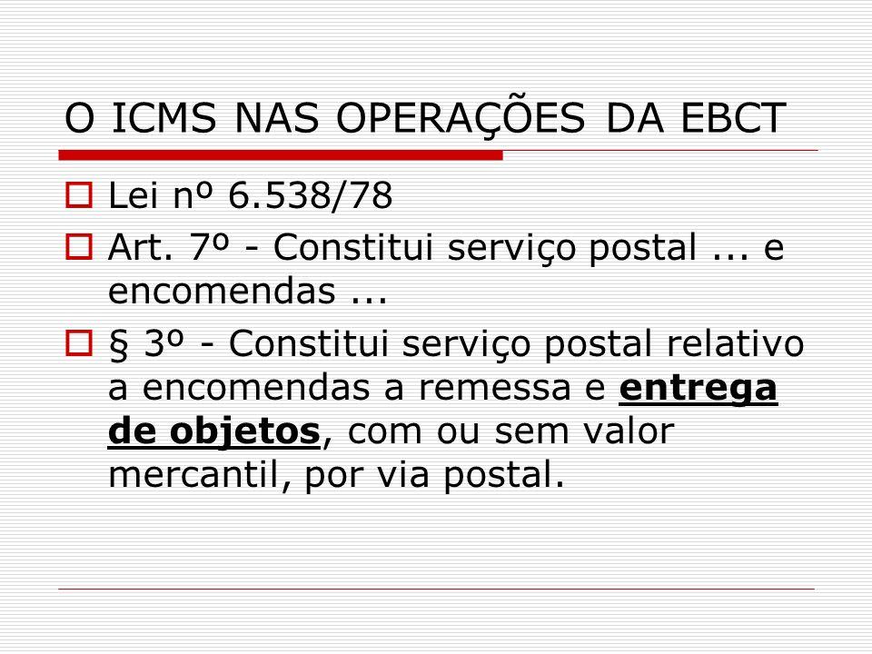 O ICMS NAS OPERAÇÕES DA EBCT Lei nº 6.538/78 Art. 7º - Constitui serviço postal... e encomendas... § 3º - Constitui serviço postal relativo a encomend