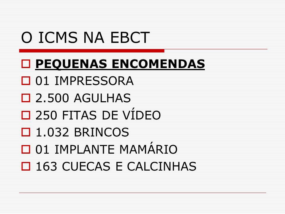 O ICMS NA EBCT PEQUENAS ENCOMENDAS 01 IMPRESSORA 2.500 AGULHAS 250 FITAS DE VÍDEO 1.032 BRINCOS 01 IMPLANTE MAMÁRIO 163 CUECAS E CALCINHAS