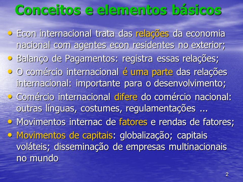 2 Conceitos e elementos básicos Econ internacional trata das relações da economia nacional com agentes econ residentes no exterior; Econ internacional