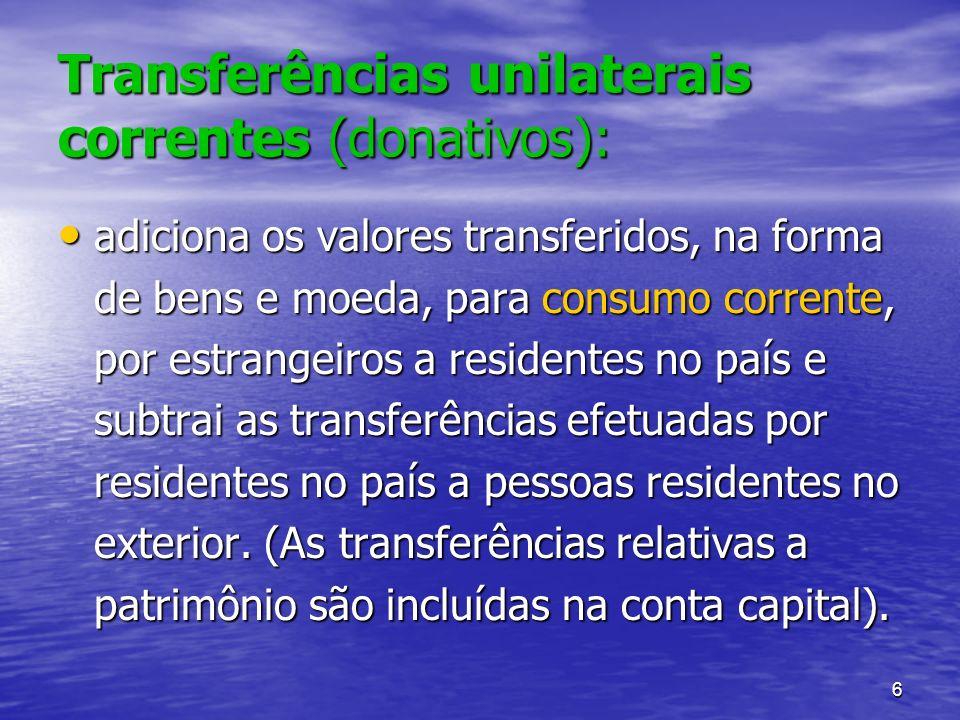 6 Transferências unilaterais correntes (donativos): adiciona os valores transferidos, na forma de bens e moeda, para consumo corrente, por estrangeiro