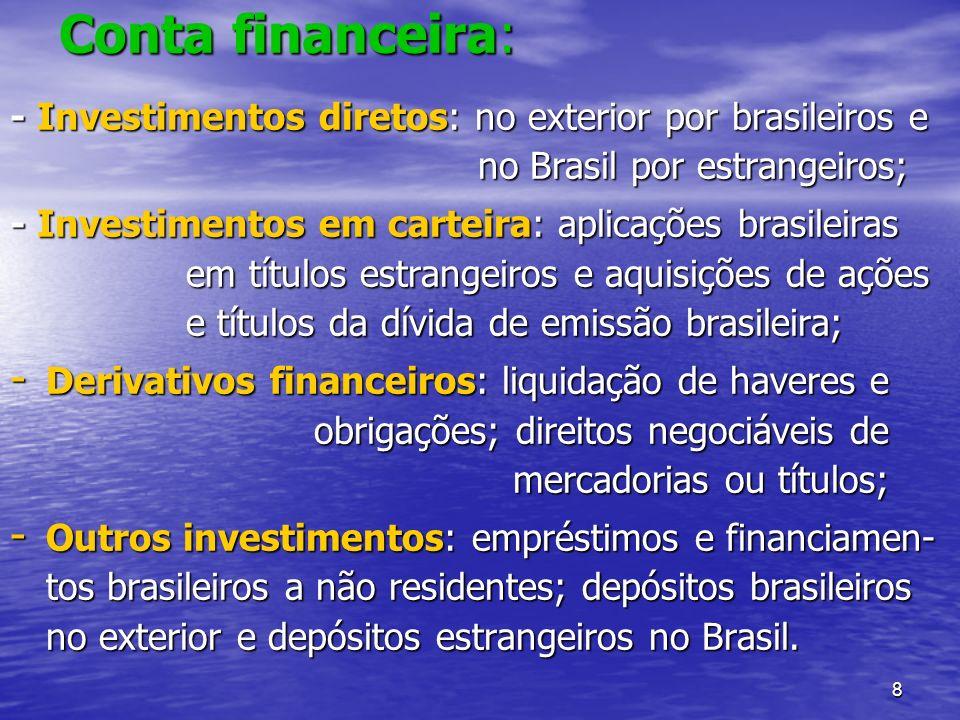 8 Conta financeira: - Investimentos diretos: no exterior por brasileiros e no Brasil por estrangeiros; - Investimentos em carteira: aplicações brasile