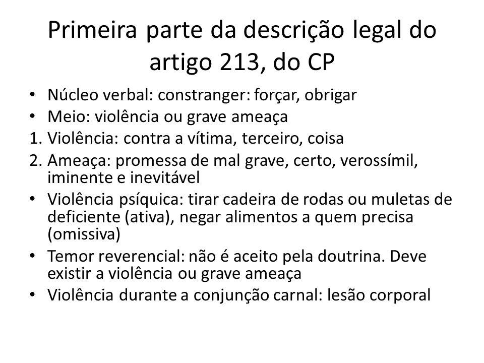 Primeira parte da descrição legal do artigo 213, do CP Núcleo verbal: constranger: forçar, obrigar Meio: violência ou grave ameaça 1.Violência: contra