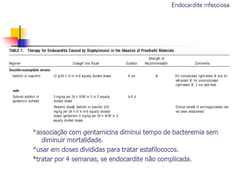 *associação com gentamicina diminui tempo de bacteremia sem diminuir mortalidade. *usar em doses divididas para tratar estafilococos. *tratar por 4 se