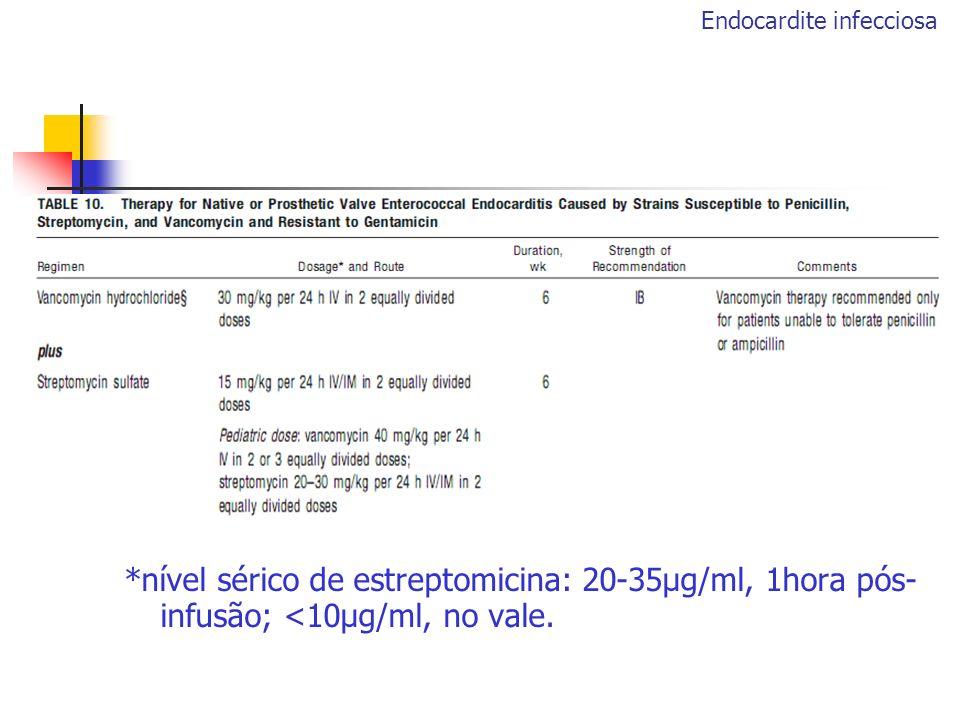 *nível sérico de estreptomicina: 20-35μg/ml, 1hora pós- infusão; <10μg/ml, no vale. Endocardite infecciosa