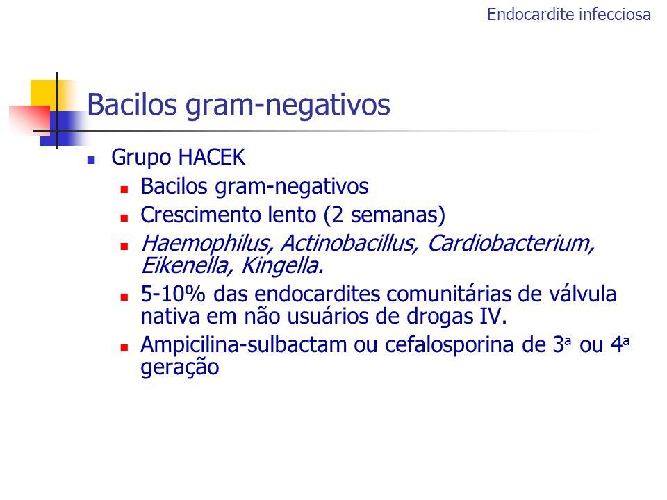 Bacilos gram-negativos Grupo HACEK Bacilos gram-negativos Crescimento lento (2 semanas) Haemophilus, Actinobacillus, Cardiobacterium, Eikenella, Kinge