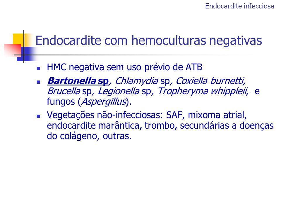 HMC negativa sem uso prévio de ATB Bartonella sp, Chlamydia sp, Coxiella burnetti, Brucella sp, Legionella sp, Tropheryma whippleii, e fungos (Aspergi