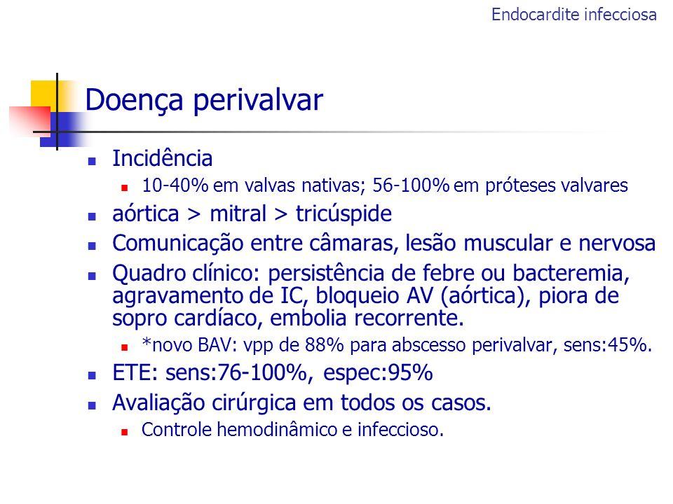 Doença perivalvar Incidência 10-40% em valvas nativas; 56-100% em próteses valvares aórtica > mitral > tricúspide Comunicação entre câmaras, lesão mus